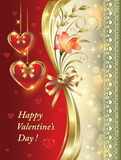 Romantic postcard with floral ornament and hearts Stock Images