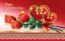 Romantic postcard for Valentines Day with a bouque Royalty Free Stock Photography