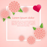 Romantic poster frame decoration with hearts, flowers and frame for Happy Valentines Day greeting card or Wedding invitation. Vector pink border template. Love royalty free illustration
