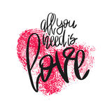 Romantic poster with hand lettering and heart. Romantic poster with lettering and fingerprint heart. Black handwritten phrase All you need is Love and pink Stock Images