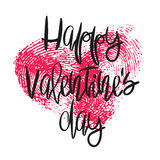 Romantic poster with hand lettering and heart. Romantic poster with hand lettering and fingerprint heart. Black handwritten phrase Happy Valentines Day and pink Stock Photos