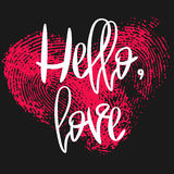 Romantic poster with hand lettering and heart. Romantic poster with hand lettering and fingerprint heart. Black handwritten phrase Hello Love and pink Stock Image