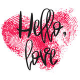 Romantic poster with hand lettering and heart. Romantic poster with hand lettering and fingerprint heart. Black handwritten phrase Hello Love and pink Stock Photo