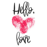Romantic poster with hand lettering and heart. Romantic poster with hand lettering and fingerprint heart. Black handwritten phrase Hello Love and pink Stock Photography