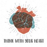 Romantic poster with human heart, brain, and lettering. Hand drawn textured romantic poster with orange human heart, blue brain, and inspiring lettering vector Royalty Free Stock Image