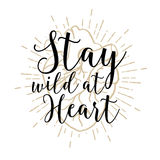 Romantic poster with human heart and inspiring lettering. Stock Images