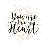 Romantic poster with human heart and inspiring lettering. Stock Photography