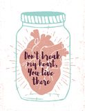 Romantic poster with human heart in a jar. Stock Photo