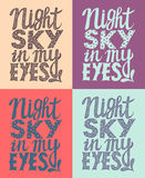 Romantic poster night sky in my eyes Royalty Free Stock Photos