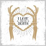 Romantic poster with skeleton hands forming a heart. Royalty Free Stock Photos