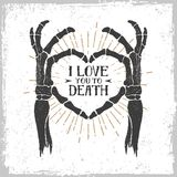 Romantic Poster With Skeleton Hands Forming A Heart. Royalty Free Stock Image