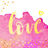 Romantic poster with the word. Love - word on watercolor texture with sparkle.Romantic poster or greeting card. Vector illustration Royalty Free Stock Photos