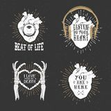 Romantic posters with human heart, skeleton hands, gramophone ho Stock Photo