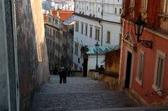 Romantic Prague. Couple kissing on Prague street Royalty Free Stock Photography