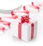 Romantic present in a box on a white background. Present in a box on a white background Stock Image