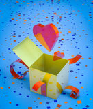 Romantic present opening Royalty Free Stock Images