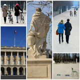 Romantic promenade in the Tuileries, Paris. A collage of pictures from the Tuileries Square in Paris Royalty Free Stock Photos