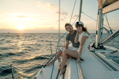 Romantic proposal scene on yacht Royalty Free Stock Photography