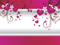 Romantic purple background with floral, heart Royalty Free Stock Photo