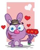 Romantic purple bunny Royalty Free Stock Image