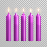 Romantic purple candle flame burning candles vector set Royalty Free Stock Images