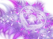 Romantic purple fractal heart. Digital artwork for creative graphic design Stock Photos