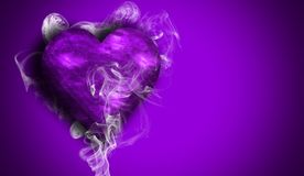 Romantic purple love hearts with smoke on background for copy space. Creative Valentine`s Day and Woman Day background . Romantic purple hearts . Wedding party royalty free stock photo