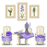 Romantic purple serve table with flowers, chairs Royalty Free Stock Photo