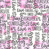 Romantic quote seamless pattern. Love text print for valentine day. Hand lettering typography design Stock Photos