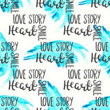 Romantic quote seamless pattern. Love text print for valentine day. Hand lettering typography design Royalty Free Stock Photos