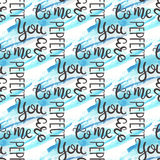 Romantic quote seamless pattern. Love text for valentine day. Greeting card design. Watercolor background on. White. Hand lettering typography. Vector stock illustration