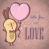 Romantic Rabbit card. Royalty Free Stock Photos