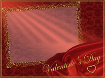 Romantic red background with frame and heart for congratulation Royalty Free Stock Photo