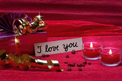 Romantic red background with sign i love you Royalty Free Stock Photo