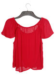 Romantic red blouse on clothes-hanger Royalty Free Stock Image