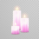 Romantic red candle flame burning candles vector set Royalty Free Stock Photos