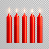 Romantic red candle flame burning candles vector set Stock Photo