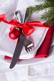Romantic red Christmas table setting Stock Photography