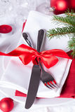 Romantic red Christmas table setting Royalty Free Stock Image