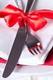 Romantic red Christmas table setting Royalty Free Stock Images