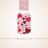 Romantic red gummi candy in the form of heart in a glass jar. Vector illustration to Valentine`s Day Stock Images