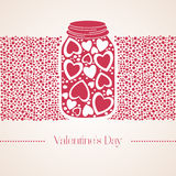 Romantic red gummi candy in the form of heart in a glass jar. Vector illustration to Valentine`s Day. Wedding day Royalty Free Stock Photo