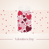 Romantic red gummi candy in the form of heart in a glass jar. Vector illustration to Valentine`s Day. Wedding day Royalty Free Stock Images