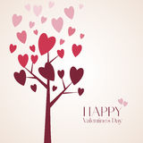 Romantic red heart on the branches of a tree. Vector illustration to Valentine`s Day Stock Image