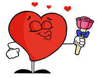 Romantic red heart giving pink roses. Sweet male red heart puckering his lips and holding out pink roses Stock Images