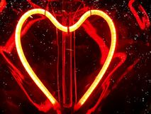 Romantic red heart light snow love