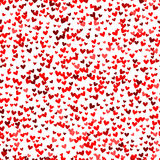 Romantic red heart pattern. Vector illustration. Romantic red heart seamless pattern. Vector illustration for holiday design. Many flying hearts down on white Royalty Free Stock Images