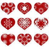 Romantic Red Heart Set. Symbol of Valentines Day. Royalty Free Stock Images