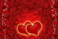 Romantic red hearts with a golden glow Royalty Free Stock Photos
