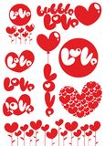 Romantic Red Love Heart Elements Set Stock Images